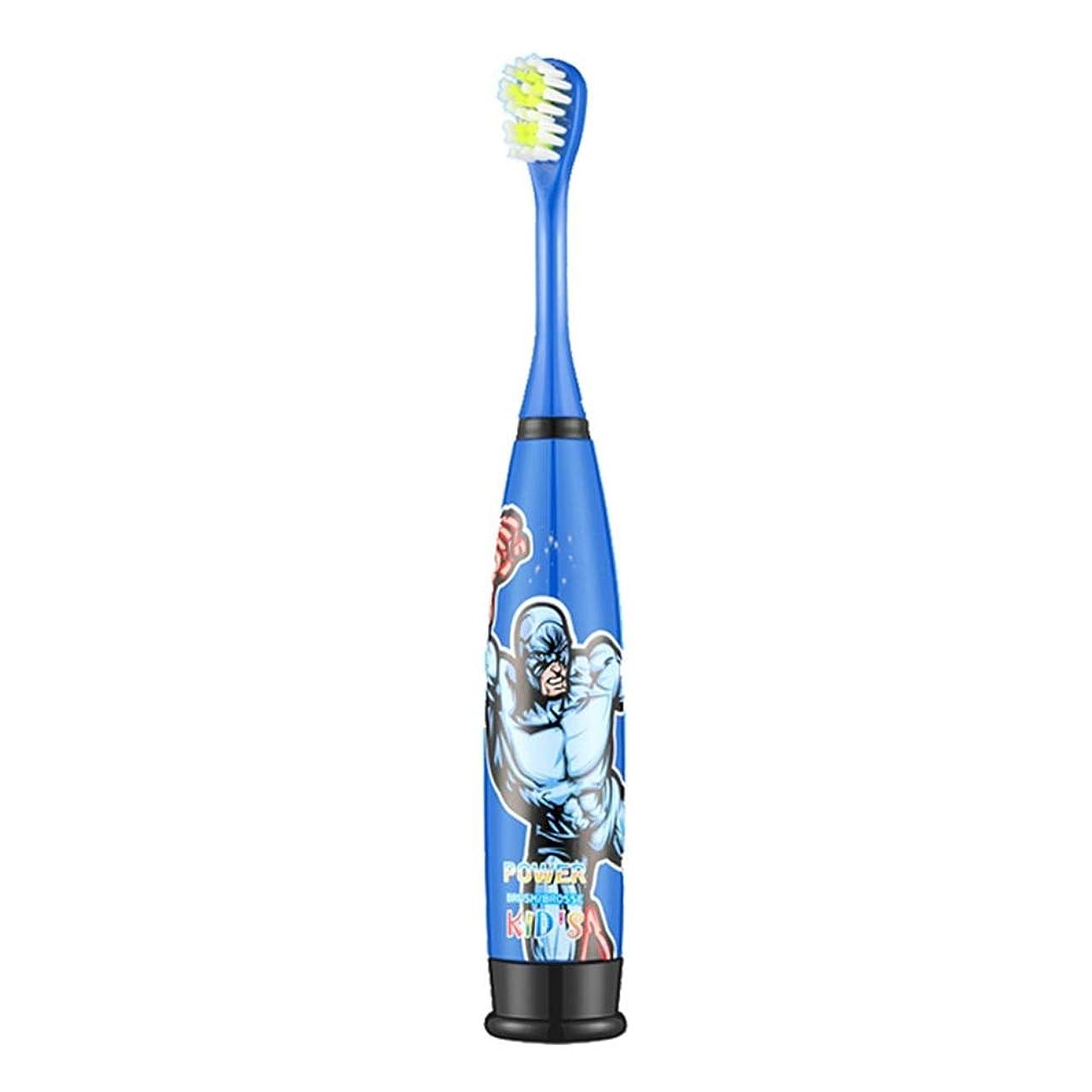 食事些細刈る電動歯ブラシ ブルースーパーマンパターン電動歯ブラシ防水ソフトヘアクリーニング歯ブラシ 子供と大人に適して (色 : 青, サイズ : Free size)