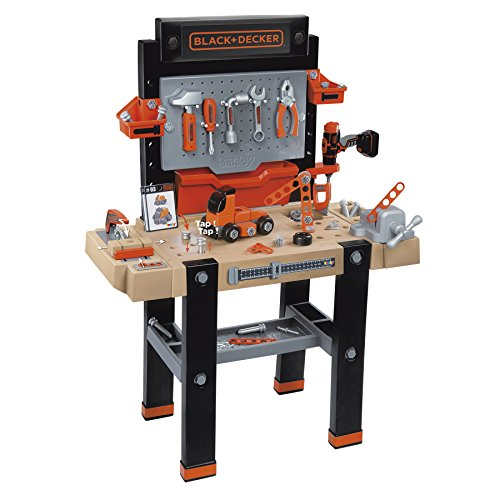 Smoby 360702 Black & Decker Kids Work Bench and Tools | Amazing Complete Workbench Including Electronic Drill, Saw, and Accessories | Ages 3+