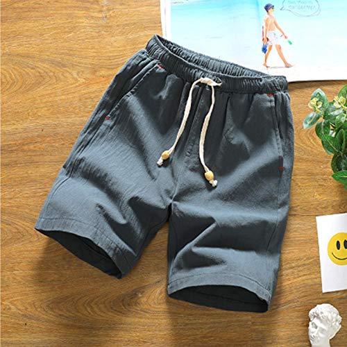 Hommes Shorts Solide Cordon De Mode en Lin Coton Shorts pour Hommes Mi Droit Genou Longueur Grande Taille Hommes Shorts XL Vert Foncé