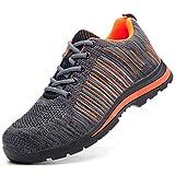 HOAPL Hombres Zapatos de Trabajo Anti-Piercing Invierno Transpirable Desodorante Ligera Antideslizante Resistente Desgaste Calzado de Seguridad Anti-Sensacional Zapatos,Gris,39