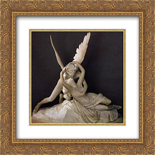 Cupid and Psyche 20x20 Gold Ornate Frame and Double Matted Museum Art Print by Antonio Canova
