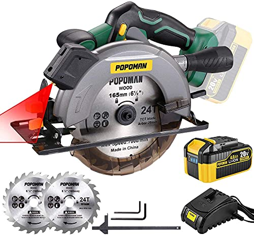 POPOMAN Cordless Circular Saw, 4300 RPM, 20V 4.0Ah Battery, Fast Charger, 2 x Blade(6-1/2'), Adjustable Cutting Depth 2-1/16'(90°), 1-3/8'(45°), Laser & Base Plate Adjustable - MTW300B
