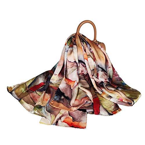 FELOVE sciarpa seta donna 100% Naturale di Gelso di Seta Multiuso Sciarpe di Raso Floreale di Lusso Per Le Signore di eleganti foulard, bavaglino, primavera, estate