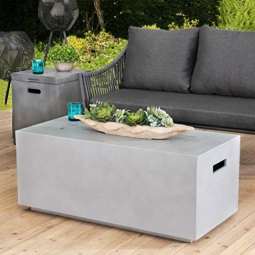Sunjoy Kacy Modern 42 in. Rectangular Concrete Propane Powered Firepit Table, Gray