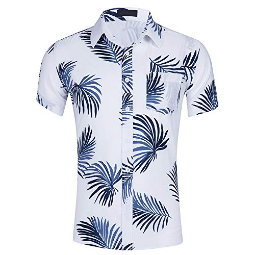 INFLATION Men's Beach Shirt Standard-Fit 100% Cotton Button Down Short Sleeve Hawaiian Shirts