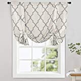 jinchan Moroccan Printed Tie Up Shade Curtains Rod Pocket Drapes Multicolor Medallion Flax Living Room's Window Curtain 1 Panel 54' Grey