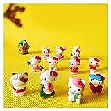 Meijin 10 unidades de gato gatito/miniaturas/adorable lindo gnomo/decoración de terrario de musgo/artesanía/bonsái/muñeca casa figura (color 10 aleatorios)