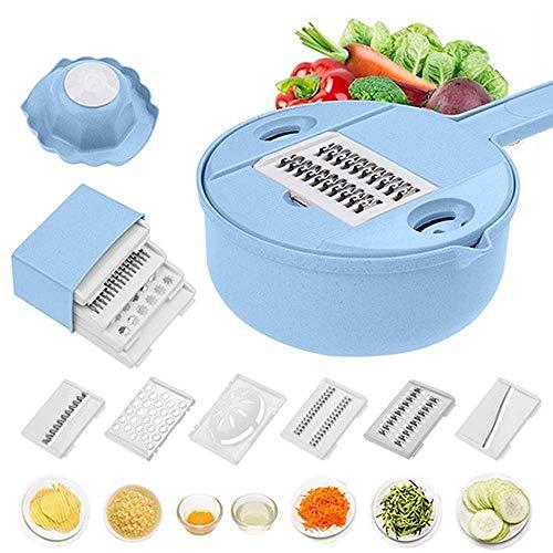 Cortador de mandolina de verduras, cortador y trituradora 10 en 1, cortador de espiralizador de vegetales, rallador multiusos de cocina