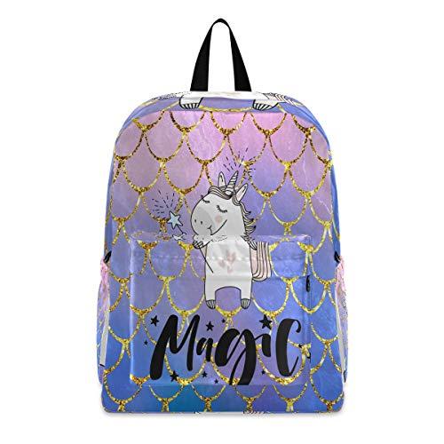 Linomo - Mochila con diseño de unicornio y escamas de sirena, ligera, para camping, senderismo, viajes, escuela, para niños, niñas, hombres y mujeres