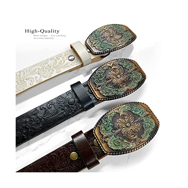 Western Full Grain Genuine Leather Belt With Floral Engraved Buckle 4