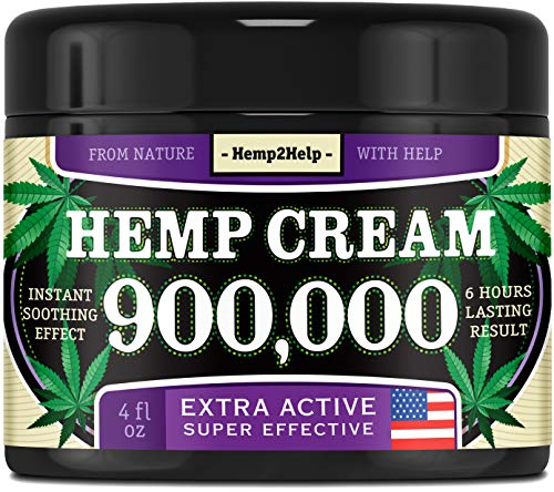 Hemp Cream 900,000 for Pain Relief - Joint, Muscle, Arthritis & Back Pain Relief Cream - Hemp Oil Cream for Inflammation Relief - Made in The USA - Aloe, Menthol & Hemp Oil for Pain Relief - 4 oz