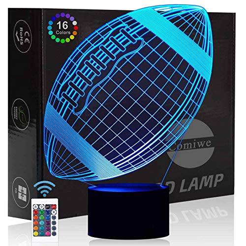 Comiwe Rugby 3D Illusion Nachtlicht Spielzeug,Dekoration LED Nachttischlampe 16 Farben Ändern mit Fernbedienung,Weihnachten Deko Lampe Geburtstagsgeschenk Für Mädchen Jungen Kinder und Freunde