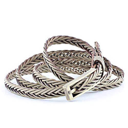 Yiph-Belt Cinturón de Ocio Cinturones Trenzados para Mujer Correa de Cuero con Cordones de Color para Damas para Pantalones de Vestir (Color : Beige, tamaño : Free Size)