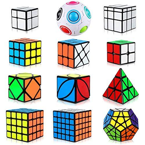 RENFEIYUAN Set 12 Pack, triángulo Pirámide 2x2 3x3 4x4 5x5 Paquete para niños, Pegatina Suave Dodecahedron + Skew Ivy + Mirror + Ballo de Arco Iris Rubik Cubo