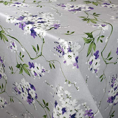 KEVKUS Wachstuch Tischdecke geprägt 160 cm Breite P1073-3 Wiesenblumen Blüten auf grau wählbar in eckig rund oval (Rand: Paspelschrägband, 160 x 200 cm oval)