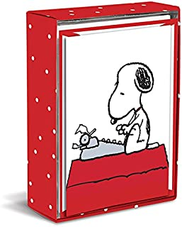 Graphique Peanuts Typewriter Boxed Notecards, 16 Snoopy at Typewriter Cards Embellished with Glitter, with Matching Envelopes and Storage Box, 3.25