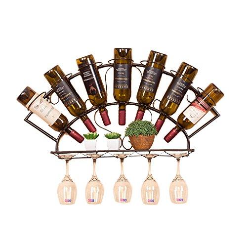 LSLS Botellero Vino 7 Metales Ferrosos Decoración del Hogar del Marco De Botella Botella De Pared De La Botella De Rack Rack De Copa De Juerga (tamaño: 83 * 13 * 40 Cm) Botellero