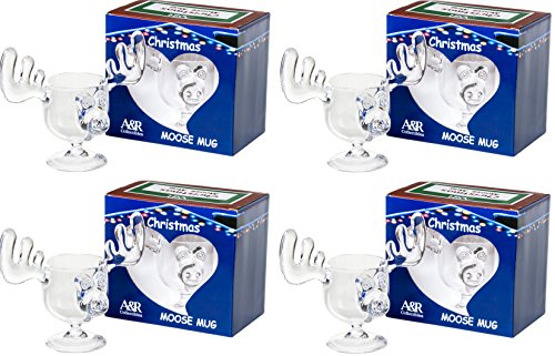 Christmas Eggnog Moose Mug Gift Boxed Set of 4 - Safer Than Glass