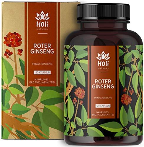 Holi Natural® Roter Panax Ginseng Extrakt (10:1) | 120 Kapseln vegan | 1200mg je Tagesdosis | 20{d78b420ba2480fd5a0121685894814e9ee922b494529608021db8f07a8425cd3} Ginsenoside | Echter koreanischer Ginseng C.A. Meyer