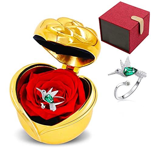 Rosa Eterna con Anillo S925 Colibrí Ajustable, Caja de Flor Natural Regalo Romantico para Ella, Día de San Valentín, Aniversario, Cumpleaños