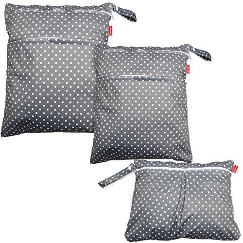 Damero 3 Stück/Set Windeltasche mit wiederverwendbarem Stoff Wetbag Feuchttücher Organiser Beutel, Graue Punkte