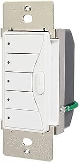 Eaton RFWC5AW ASPIRE RF Wall Mount 5-Scene LED Keypad, 120-volt, Alpine White Finish