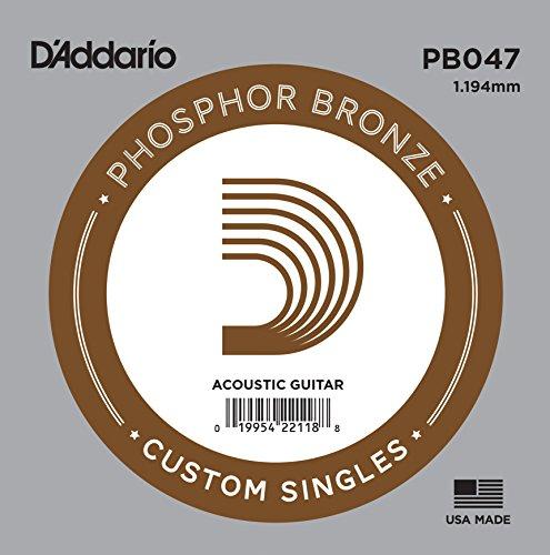 D'Addario PB047 Phosphor Bronze Einzelsaite für Gitarren 0,12 cm (0,047 Zoll)