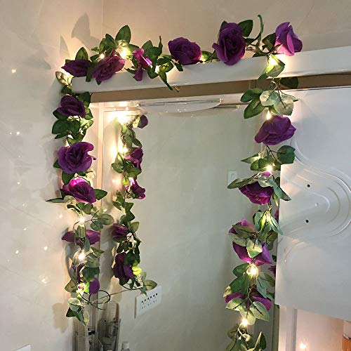 GUOCHENG Novelty 2.45M Rose Flower Fairy Lights Artificial Rose Ivy Garland LED Copper String Lights for Christmas Wedding Bouquets Centerpieces Arrangements Party Home Decorations-Purple