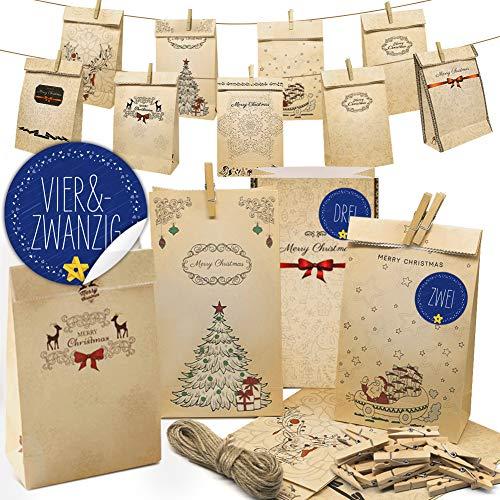 Amteker Adventskalender zum Befüllen - Weihnachtskalender Papiertüten, 1-24 Zahlenaufklebern, Jute Kordel, 24 Wäscheklammern, 24 Adventskalender Tüten, Wiederverwendbar