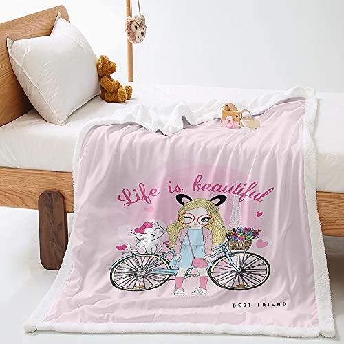 Manta Sherpa Rosado 150x200 cm Bicicleta Y Niña Suave y Acogedora Manta de Franela Manta de Felpa para Niños Adultos,Cama Manta,Sofá Manta,Baby Mantas,Viaje Mantas,Regalos de Cumpleaños