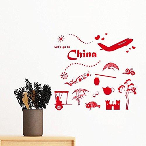 DIYthinker Lassen Sie Uns gehen, um China Bambus Laterne Peacock Flugzeug Teekanne Baum-entfernbare Wand-Aufkleber-Kunst-Abziehbilder Wand-DIY Tapete F 50Cm