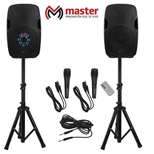 Master- Kit de altavoces de 15 pulgadas (activo y pasivo) con amplificador, bluetooth, cable neutrik,…