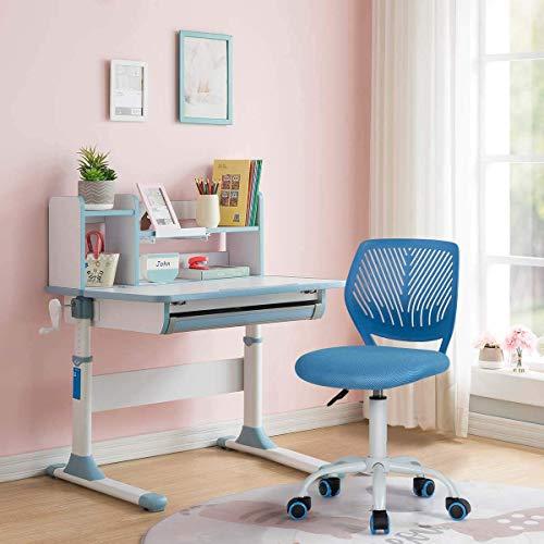 FurnitureR Silla de Escritorio de Trabajo de Oficina Silla de Estudio Ajustable para niños de Respaldo Medio Azul