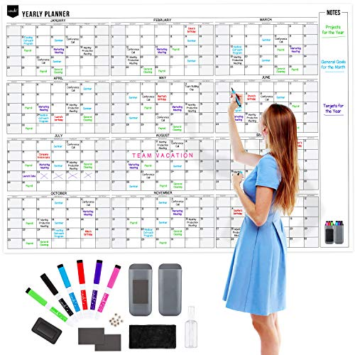 "Yearly 12 Month Dry Erase Wall Calendar: with Stain Resistant Technology - 60x42"" – Has 6 Fine Tip Markers and Large Eraser – Annual Reusable Undated White Board 2020 – Whole Full Year Whiteboard"