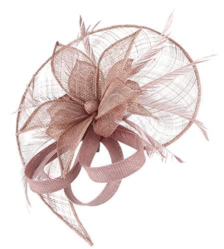 GEMVIE Damen Fascinators Hut Elegant Brauthut mit Feder Haar Clip Hut Tea Party Clip Haarschmuck Rosa 1