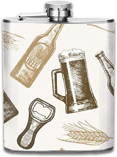 Flasche Bier Hand Draw Sketch Edelstahl 7 Unzen Flachmann, ideal für Reisen Kreuzfahrt Wandern Bootfahren