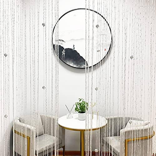 KIWI FOREST Home Decor Sequin Curtain Beaded Divider Panels Hanging Tassel Fringe Room Window for Doorway, Door String Curtains, White