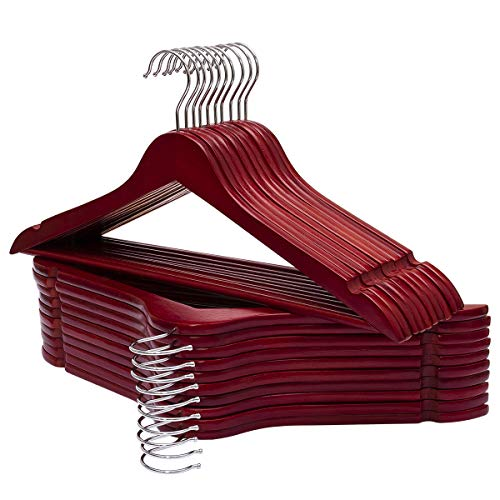ELONG HOME Solid Wooden Hangers 30 Pack Wood Suit Hangers with Extra Smooth Finish Precisely Cut Notches Chrome Swivel Hook Wooden Clothes Hangers for Shirt Coat Jacket Dress Cherry