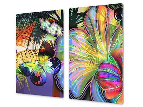 Couvre-cuisinière à induction – Planche de cuisine en verre trempé – Couvre-plaques de cuisson – UNE PIÈCE (60x52 cm) ou DEUX PIÈCES (30x52 cm chacune); D15 Série Dessins: Papillon