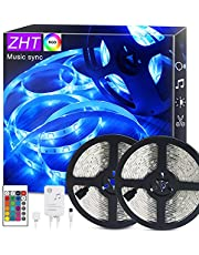 LED Strip Lights Music sync, ZHT 50Ft LED Light Strips, RGB Color Changing Light Strip with Remote Control for Bedroom, Kitchen, TV Background Decoration, LED Rope Light