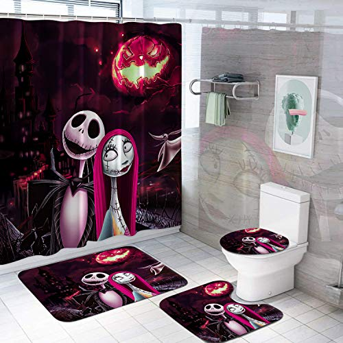 VASHU The Nightmare Before Christmas Shower Curtain Sets Anime Bathroom Decor Shower Curtain with Non-Slip Bathroom Rugs Set Waterproof Shower Curtain C