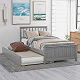 P PURLOVE Solid Wood Twin Size Platform Bed with Trundle for Guests Room,Bedroom(Gray)