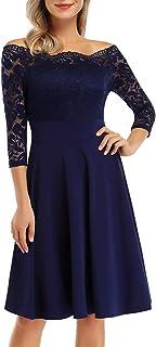 KOJOOIN Damen 50er Jahre Kleider Festliches Spitzenkleid Abendkleider Vintage Ballkleid Kurzes A-Linie Cocktailkleid Gr.34-48Verpackung MEHRWEG