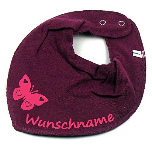 Elefantasie Halstuch Schmetterling mit Namen oder Text personalisiert Beere für Baby oder Kind