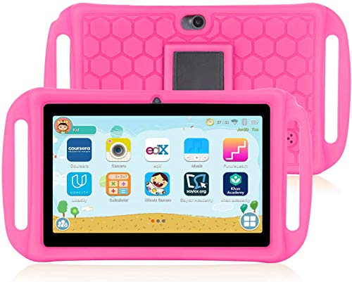 Kids Tablet, 7 Inch 8.1 Android Tablet for Kids with WiFi, Parental Control, 16GB Dual Camera Childrens Tablet, Kid-Proof, Pink