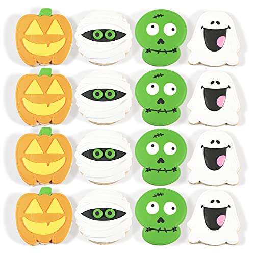 HALLOWEEN Cookies - Hand Decorated Butter Cookies - 1ct, Pack of 16 - Individually Wrapped - DecoCookies - Perfect for Themed Birthdays, as Party Favors, Gifts and School