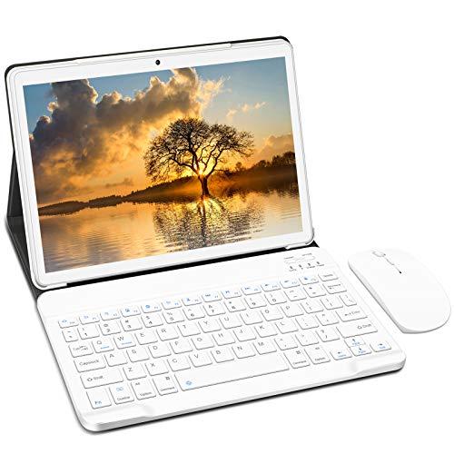 YESTEL Tablette Tactile 10 Pouces Android 10.0 Tablettes 4Go RAM 64Go ROM 8000mAh Quad Core 4G LTE Doule SIM (avec Souris et Clavier)-Argent