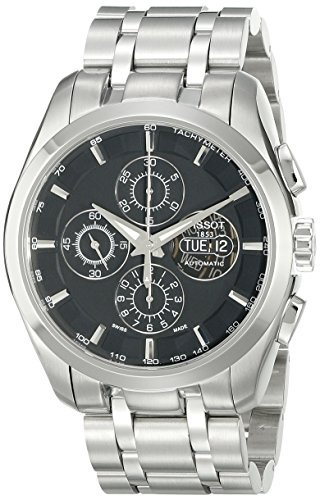 Tissot Men's T0356141105100 Couturier Stainless-Steel Automatic Black Dial Watch