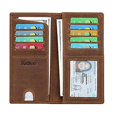Kattee Men's Vintage Look Genuine Leather Long Bifold Wallet