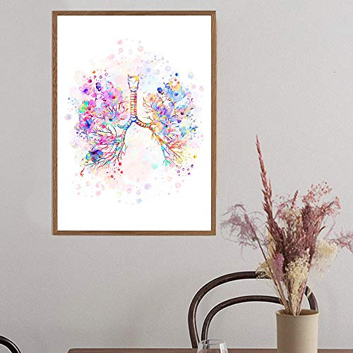 Pulmones Acuarela Art Poster Medical Anatomy Wall Art Print Canvas Painting Anatomical Medicine Wall Picture Doctor Office Decor